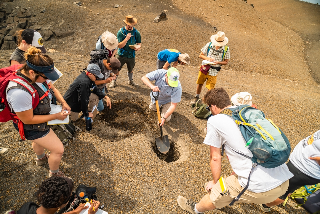 HSU's Volcanology class examining pyroclastic deposits from the 1666 AD eruption of Cinder Cone in Lassen Volcanic National Park (Photo by Trevor McBroom)